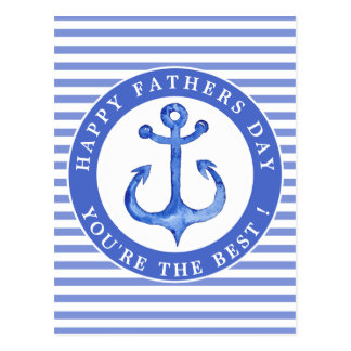 Nautical Anchor Navy Striped Father's Day Postcard