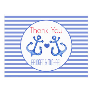 Nautical Anchor Navy Striped | Thank You Postcard