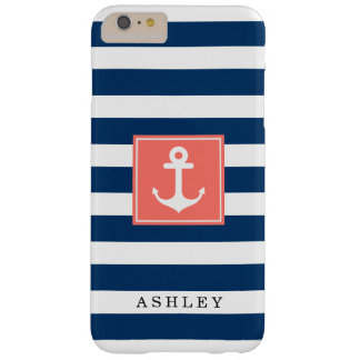 Nautical Anchor Navy Stripes Pattern Monogram Name Barely There iPhone 6 Plus Case