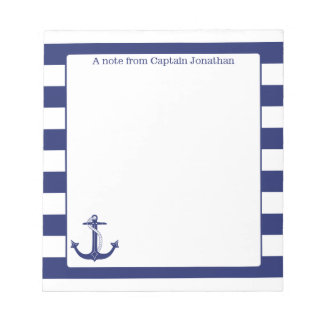 Nautical Anchor Navy Stripes Personalized 5.5 x 6 Notepad