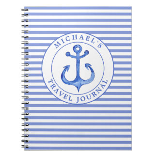 Nautical Anchor - Navy Stripes Photo Notebook