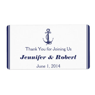 Nautical Anchor Navy Wedding Water Bottle Label Shipping Label