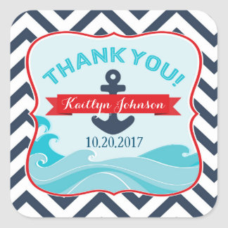 Nautical Anchor Ocean Wave Chevron Red Thank You Square Sticker