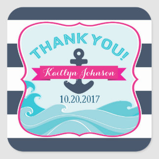 Nautical Anchor Ocean Wave Hot Pink Thank You Square Sticker