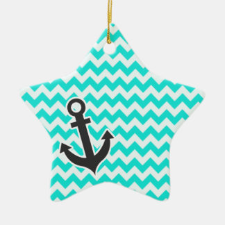 Nautical Anchor on Aqua Color Chevron Christmas Ornament