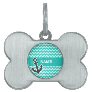 Nautical Anchor on Aqua Color Chevron Pet ID Tag