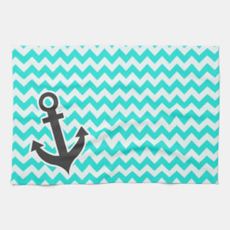 Nautical Anchor on Aqua Color Chevron Tea Towel