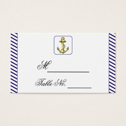 Nautical Anchor on Blue Stripe Wedding Place Card