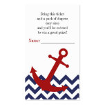 Nautical Anchor on Chevron Diaper Raffle Ticket Business Card Templates