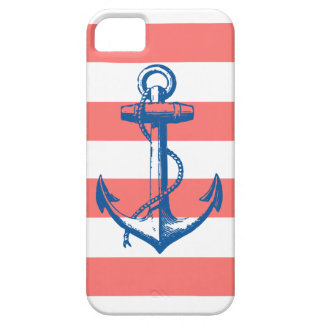 Nautical Anchor on Coral Stripes iPhone 5 Cover