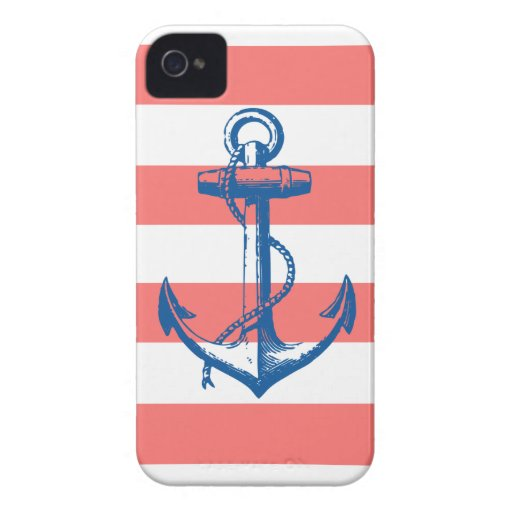 Nautical Anchor on Coral Stripes Case-Mate iPhone 4 Cases