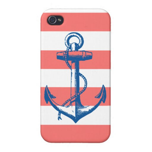 Nautical Anchor on Coral Stripes Case For iPhone 4
