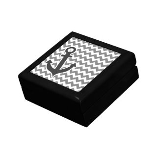 Nautical Anchor on Dark Gray Chevron Gift Box