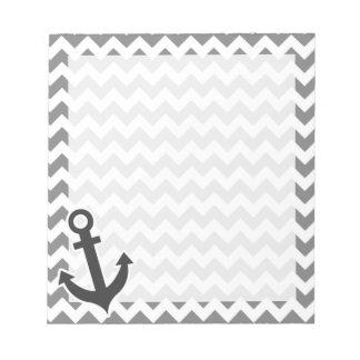 Nautical Anchor on Dark Gray Chevron Notepad