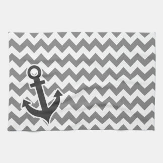 Nautical Anchor on Dark Gray Chevron Tea Towel