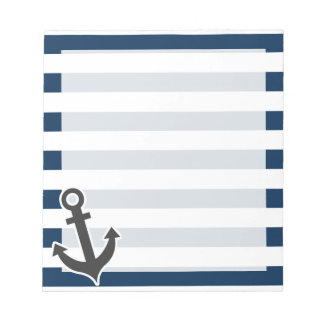Nautical Anchor on Dark Midnight Blue Stripes Notepad