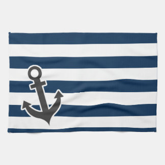 Nautical Anchor on Dark Midnight Blue Stripes Tea Towel