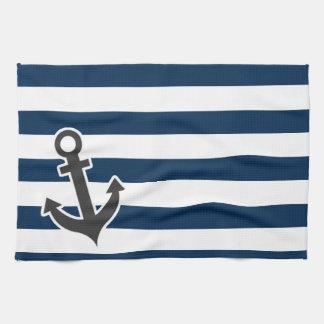 Nautical Anchor on Dark Midnight Blue Stripes Tea Towels