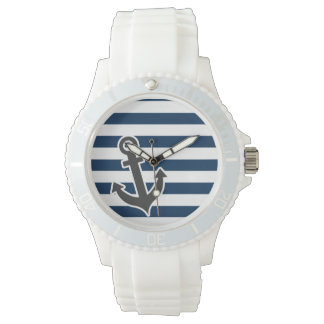 Nautical Anchor on Dark Midnight Blue Stripes Watch