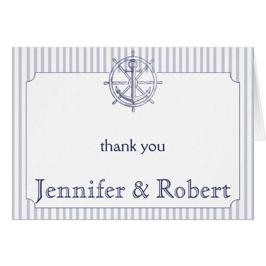 Nautical Anchor on Grey Stripe Thank You Card