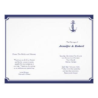 Nautical Anchor on Navy Wedding Program Flyer Design
