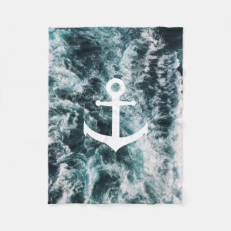 Nautical anchor on ocean photo background fleece blanket