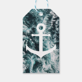 Nautical anchor on ocean photo background gift tags