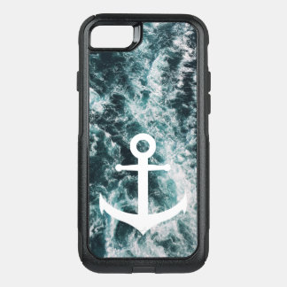 Nautical anchor on ocean photo background OtterBox commuter iPhone 8/7 case