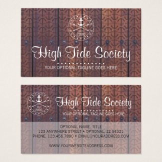 Nautical Anchor on Rustic Wood Vintage Style Beach Business Card