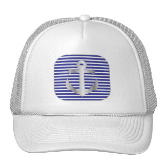 Nautical Anchor on Silver and blue Silver frame Trucker Hat