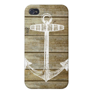 Nautical Anchor on wood graphic Case For iPhone 4