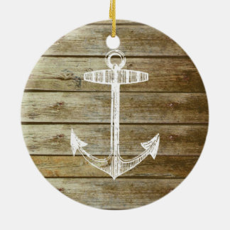 Nautical Anchor on wood graphic Christmas Ornament