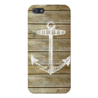 Nautical Anchor on wood graphic iPhone 5 Case