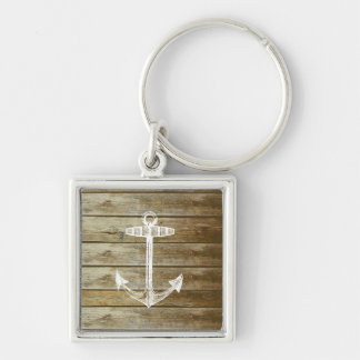 Nautical Anchor on wood graphic Key Ring