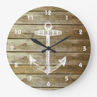 Nautical Anchor on wood graphic Large Clock