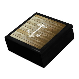 Nautical Anchor on wood graphic Large Square Gift Box