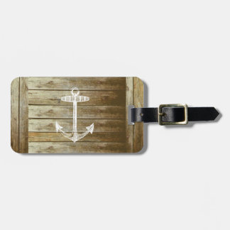 Nautical Anchor on wood graphic Luggage Tag