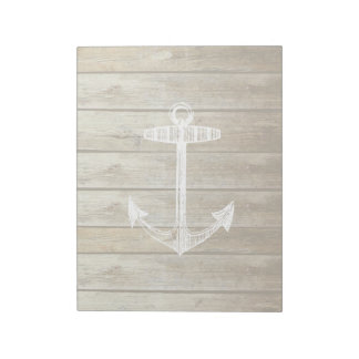Nautical Anchor on wood graphic Notepad