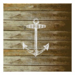 Nautical Anchor on wood graphic Posters