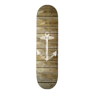 Nautical Anchor on wood graphic Skate Board Decks