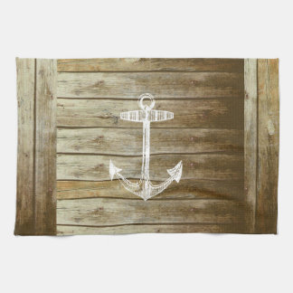 Nautical Anchor on wood graphic Tea Towel
