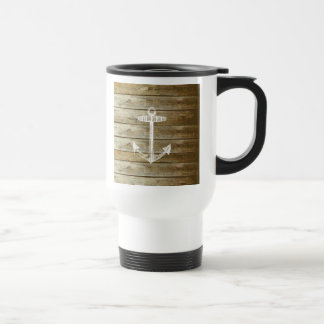 Nautical Anchor on wood graphic Travel Mug