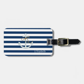 Nautical  Anchor OnNavy Blue Stripes-Personalized Luggage Tag