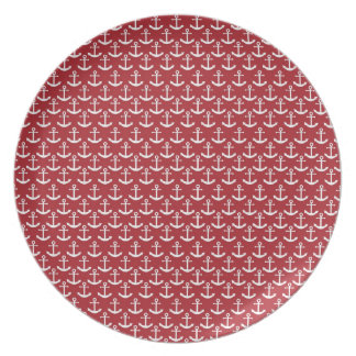 Nautical Anchor Pattern in Red Plates