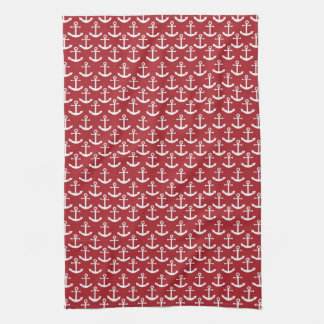 Nautical Anchor Pattern in Red Tea Towel