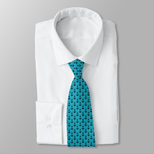 Nautical Anchor Pattern in Turquoise and Black Tie