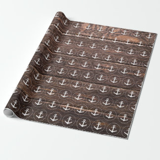 Nautical anchor pattern on wood wrapping paper