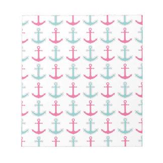 Nautical Anchor Pattern Pink and Aqua Notepad
