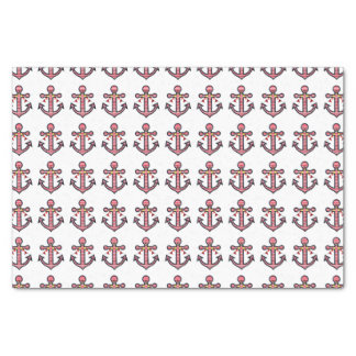 Nautical Anchor Pattern with Red & White Stripes Tissue Paper