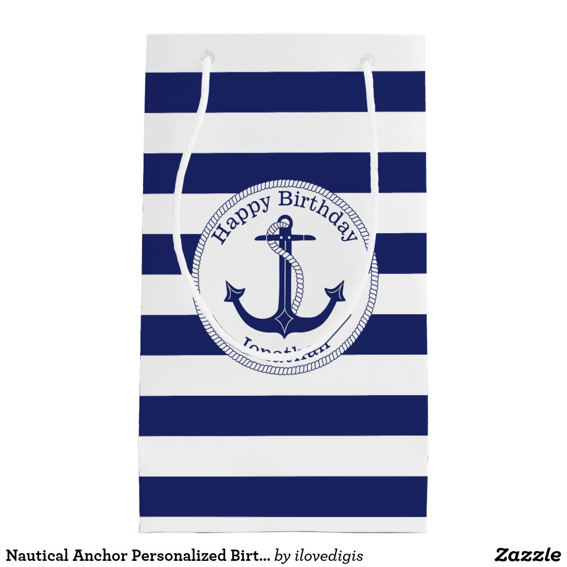 Nautical Anchor Personalised Birthday Gift Bag